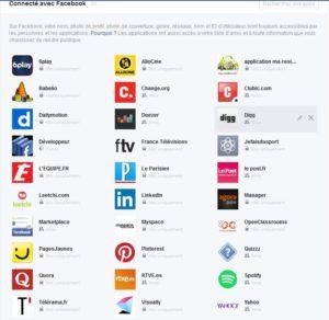 Les applications qui ont accès a vos informations Facebook